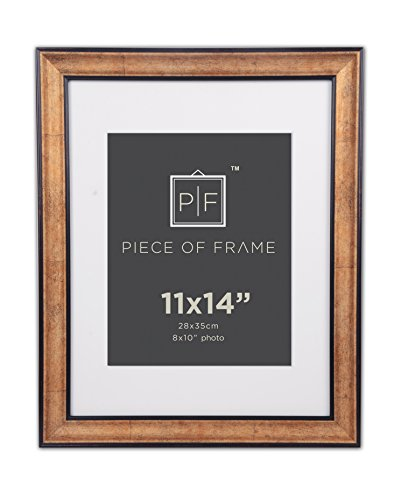 Golden State Art, 11x14 Photo Frame, Dark Gold Brown & Bronze Pewter Panel, with Ivory Color Mat for Pictures 8x10 and Real Glass