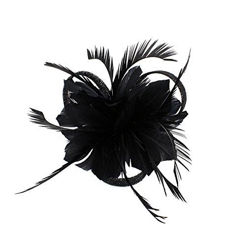 CHUANGLI Feather Headware Fascinator Hair Clip Plume Pillbox Cocktail Derby Hat Hair Accessories Black
