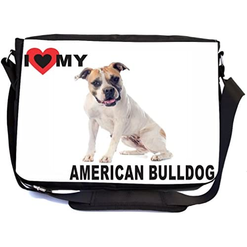 Rikki Knight I Love My Brown American Bull Dog Design Multifunctional Messenger Bag - School Bag - Laptop Bag - with padded insert for School or Work - Includes Matching Compact Mirror P0CMK2jJ