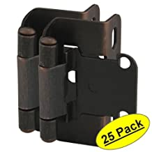 """Cosmas 27550-ORB Oil Rubbed Bronze Self Closing Partial Wrap Cabinet Hinge 1/2"""" Inch Overlay [27550-ORB] - 25 Pair Pack"""