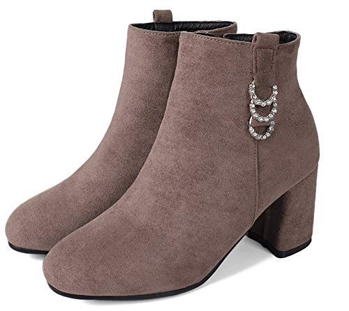 Style Bout Mode Anneau Strass Femme Bottines Gris Carré Aisun HEWYx7