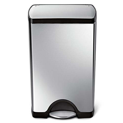 simplehuman Rectangular Step Trash Can, Stainless Steel, 38 L / 10 Gal by simplehuman