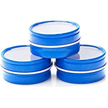 Mimi Pack 3 oz Shallow Round Clear Window Slip Top Lid Tins For Salves, Favors, Spices, Balms, Candles, Gifts 24 Pack (Blue)