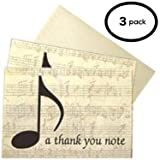 3 PACK // Boxed Set Of Musical / Music Themed ''Thank You'' Note Cards - ''a thank you note'' - Beautifully Finished With An Elegant Design With A Sheet Music Background -