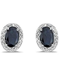 14K White Gold Oval Sapphire and Diamond Stud Earrings (1ct tw)