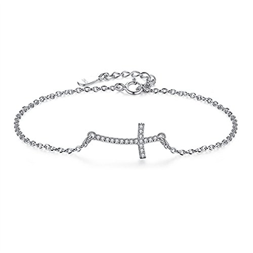 YHDBH 925 Sterling Silver Crystal Cross Charm Bracelet For Women Link Chain Bracelets Wholesale European Jewellery from YHDBH
