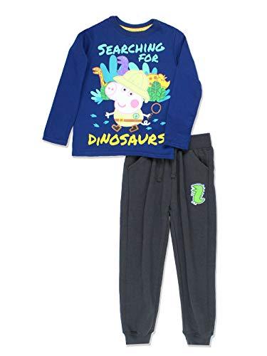 Peppa Pig George Toddler Boys 2 Piece Long Sleeve T-Shirt and Jogger Pants Set (4T, Navy/Grey)