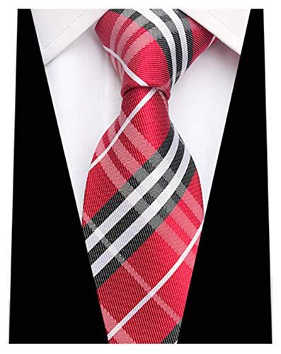MENDENG New Classic Striped Red Black Jacquard Woven Ties Silk Men's Tie Necktie Black Striped Silk Necktie