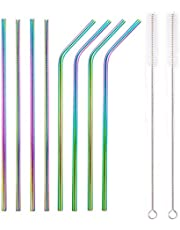 Juego de 8 pajitas de metal de acero inoxidable Pajitas reutilizables ultra largas de 8.5 pulgadas para vasos Bebidas frías de colores (4 rectas   4 dobladas   2 cepillos   1 bolsa)