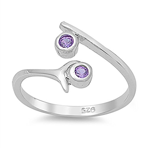 Bypass Wrap Adjustable Toe Ring Round Simulated Purple Amethyst 925 Sterling Silver