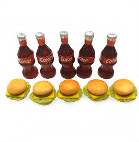 Coca Miniature Bottles Cola (The Best Buy 10 pcs Dollhouse Miniature Coke Bottles & Burgers)