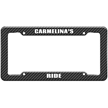 Amazon Com Carbon Fiber Pattern License Plate Frame Ride Names