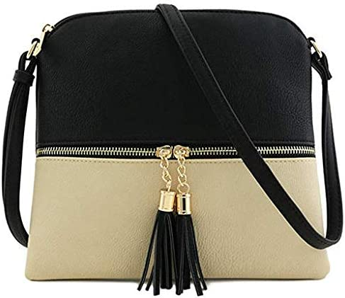 Lyperkin Double Shoulder Bag Fshion Women Leather Tassel Crossbody Bag Pure Color Shoulder Bags Message Bag Durable Laptops Backpack Casual Daypacks College School Computer Bag for Women Lady N-81