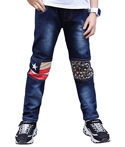 MingAo Skinny Fit Boys Jeans Elastic Waist Stretch Denim Pants Size for 2-13 Years (Toddler/Little Kid/Big Kid) (8-9 Years, Blue 4)