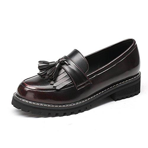 Zapatos de tacón grueso de primavera/Mujer tacones/Zapatos de las mujeres de aire británica profunda vintage/Gente perezosa de la borla de zapato cabeza redonda B