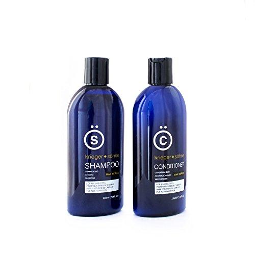 K + S Herren-Shampoo + Haarspülung Set in Profi Qualität - Mit Teebaumöl und Pfefferminzöl um Haarausfall, Schuppen und trockener Kopfhaut vorzubeugen (2 x 236ml)