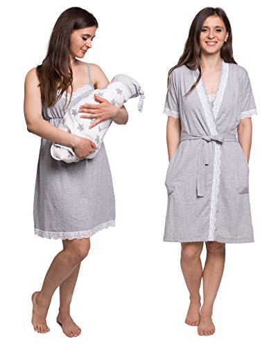 - Matching Mommy Robe and Swaddle Set, Nursing Gown, Flannel Blanket, Hat (XL)
