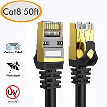Router//Gaming//Xbox High Speed 26AWG Cat8 LAN Network Cable 40Gbps YixGH Cat8 Ethernet Cable 40ft 2000Mhz with Gold Plated RJ45 Connector Heavy Duty Weatherproof S//FTP UV Resistant for Modem