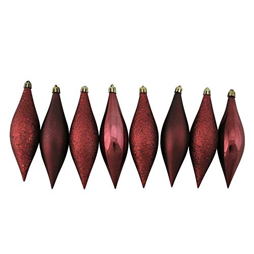 Northlight 8ct Burgundy Shatterproof 4-Finish Finial Drop Christmas Ornaments 5.5""