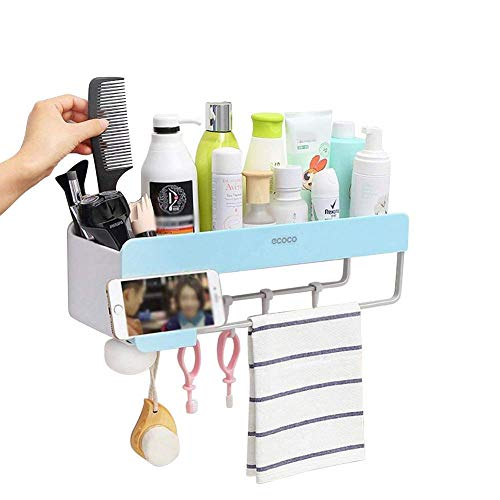 Adhesive Bathroom Shelf with Towel Bar, Hanging Hooks and Magnetic Soap Holder, Mitlife Shower Caddy Storage Organizer Wall Mount for Kitchen, Shampoo Combo, Conditioner, Makeup