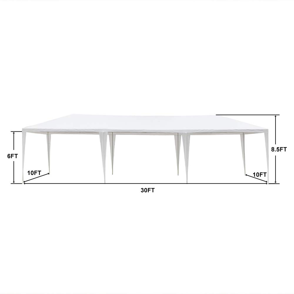 Teekland 10'x30' Outdoor Canopy Party Wedding Tent,Sunshade Shelter,Outdoor Gazebo Pavilion with 8 Removable Sidewalls Upgraded Thicken Steel Tube (10' x 30' / 8 Removable Sidewalls-1) by Teekland (Image #3)