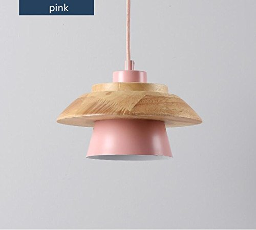 (TUNBG Nordic Creative Solid Wood Color Pendant Lamps Simple Personalized Restaurant bar Coffee Shop Pendant Lighting, Pink)