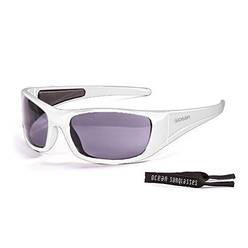 Ocean Sunglasses Bermuda - lunettes de soleil polarisées - Monture : Blanc Laqué - Verres : Fumée (3400.2) OZOEVuNS