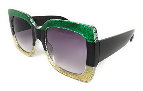 gner Inspired Oversize Glitter Sparkle Square Frame Sunglasses (Glitter Emerald, Black, Gold / Smoke Gradient) ()