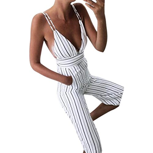Price comparison product image WELCOMEUNI Women Casual Elegant Holiday Strap Vertical Striped Spaghetti Strap Sleeveless Backless Long Jumpsuit (White, M)