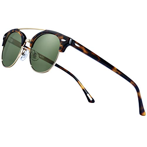 (Retro Polarized Sunglasses Half Frame丨Semi-Rimless Vintage Oval Lens, Tortoise)