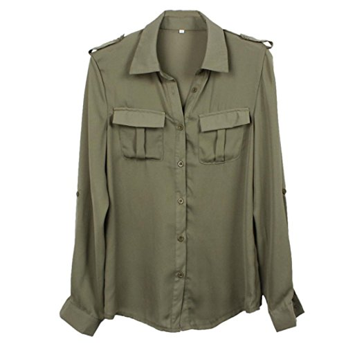 Inkach Fashion Women Sexy Loose Shirt Casual Blouse Long Sleeve Clothes (L, Army Green) (Women Army Uniforms)