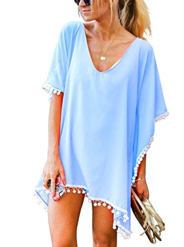 (Adreamly Women's Pom Pom Trim Kaftan Chiffon Swimwear Bathing Suit Beach Cover Up Free Size Sky Blue )