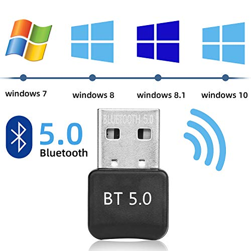 🥇 Yizhet Adaptador de Bluetooth 5.0 Bluetooth USB PC Bluetooth Transmisor y Receptor para PC con Windows XP/7/8/8.1/10/Vista
