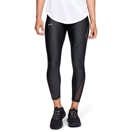Under Armour Women's Heatgear Fashion Ankle Crop 7/1, Black (001)/Metallic Silver, Large