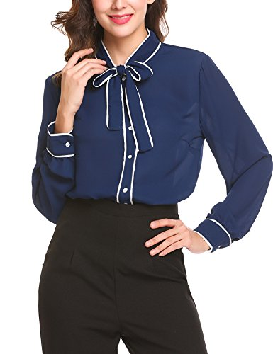 Patchwork Bow (bubblebelle Women's Bow Tie Neck Long Sleeve Chiffon Button Down Shirt Navy Blue S)