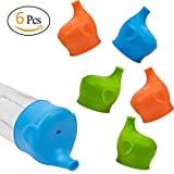 #2: Biubee 6 Pack Silicone Sippy Cup Lids Elephant Spout Spill Proof for Toddlers & Babies & Infants Training Cup or Bottle, BPA Free