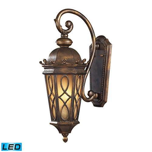Alumbrada Collection Burlington Junction 2 Light Outdoor LED Wall Sconce In Hazlenut Bronze And Amber Scavo Glass
