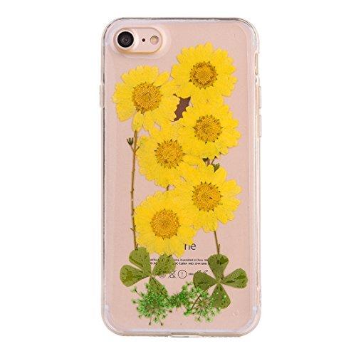 GR Weiche transparente TPU Epoxy Dripping gepresste echte getrocknete Blume Schutzhülle für iPhone 6 Plus & 6s Plus ( SKU : Ip6p2996p )