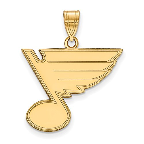 NHL St. Louis Blues Sterling Silver with GP NHL LogoArt St. Louis Blues Large Pendant