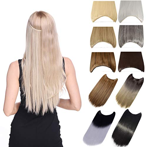 Invisible Secret Hidden Wire Clip in Hair Extensions 20-24 Inches Long Straight Wavy Curly Synthetic Hairpieces Miracle Translucent Fish Line Black Blonde Brown Ombre (20' Straight Clip Long)
