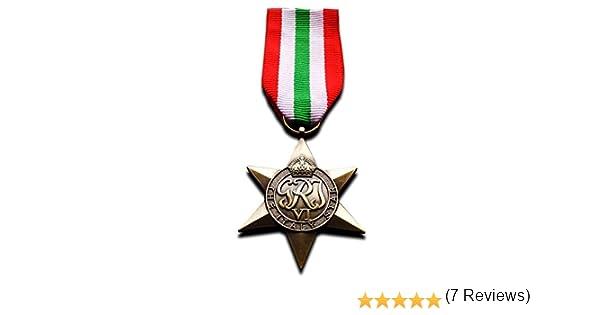 Freecrows Medallas Militares Italia Star WW2 Medalla Militar de la Commonwealth Británica Sea and Land Service Replica: Amazon.es: Deportes y aire libre