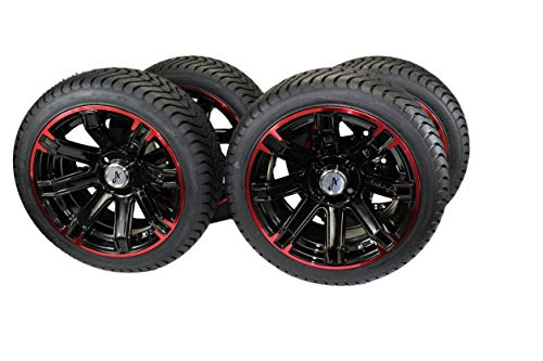 (Set of 4) 205/40-14 DOT Tire w/Glossy Black/Red Aluminum Wheel Assemblies for Golf ()