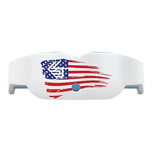 Shock Doctor 6400 Gel Nano Mouthguard With Tether, White/US Flag, Adult Size (Dicks Sporting Goods Soccer)
