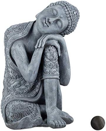 relaxdays Estatua Buda pensativo para jardín o salón, Resina ...