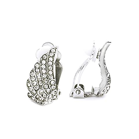 Sparkly Bride Antique Style Guardian Angel Wings Crystal Women Fashion Clip On Earrings