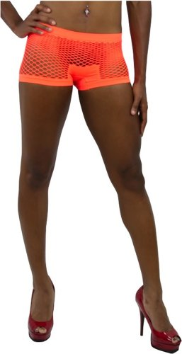 ToBeInStyle Women's Fishnet Boyshorts - One Size - Orange