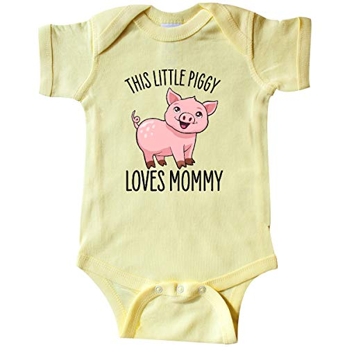 inktastic This Little Piggy Loves Mommy- Infant Creeper 12 Months Banana Yellow