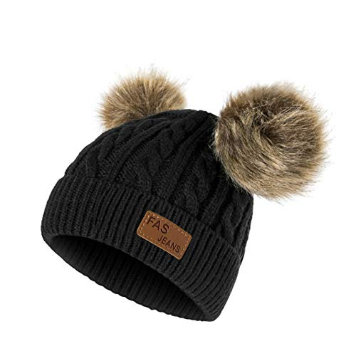 (Infant Toddler Beanie Woolen Hat  Pure Color Winter Twist Double Pom Pom Wool Knitted Cap for 0-3 Years Old (0-3 Years Old, C-)