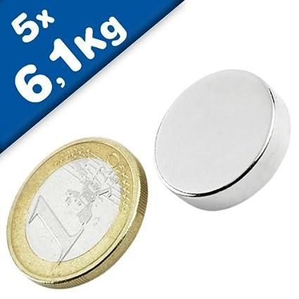 20 Stück Neodym Scheibenmagnete Magnetscheiben 20x10 mm vernickelt sehr stark