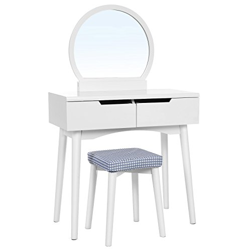 Round Dresser Set - VASAGLE Vanity Table Set with Round Mirror 2 Large Sliding Drawers Makeup Dressing Table with Cushioned Stool, White URDT11W